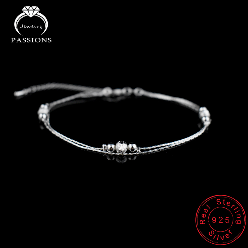 PASSIONS Double Layers New Foot Anklet 925 Sterling Ladies Silver Anklets Bracelet Chain For Women Ball Foot Pulseras Jewelry