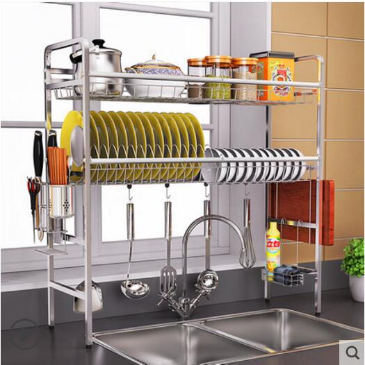 US $87.12 12% OFF|304 stainless steel sink bowl rack drain rack kitchen  rack sink put dishes 2 layer bowl chopsticks storage rack-in Storage  Holders & ...