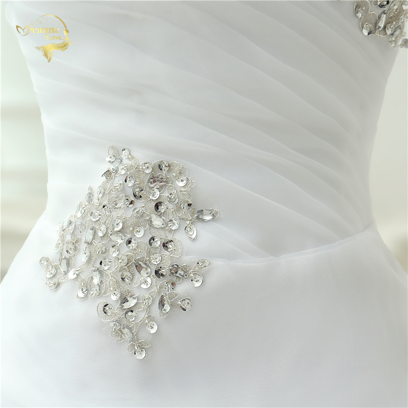 Vestido De Noiva 2017 New Shiny Organza Women Bride Sweetheart Beading Front Short Back Long White Ivory Wedding Dresses OC3399 9