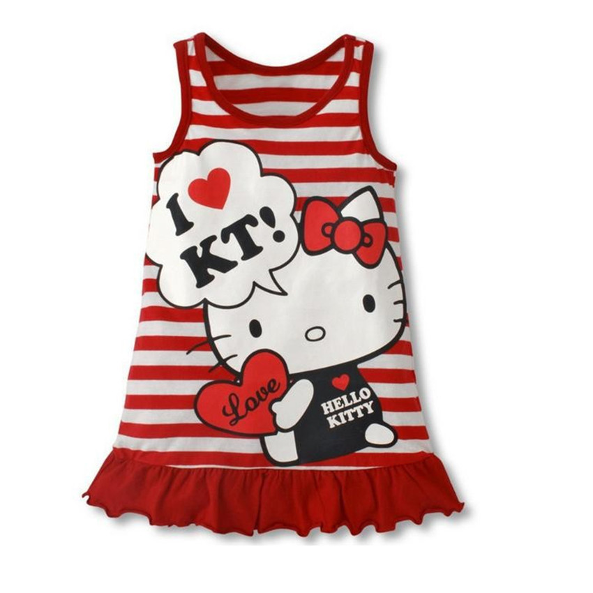 Seartist Girls Hello Kitty Dress Baby Girl Clothes Summer Sleeveless Dresses Girls Dress Clothes Striped Red KT Cat 2019 New 90C in Dresses from Mother Kids