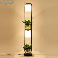 Artpad Modern Chinese Decoration Plant Flower Floor Lamp Fabric Lampshade Glass Study Stand Floor Light AC110V 220V