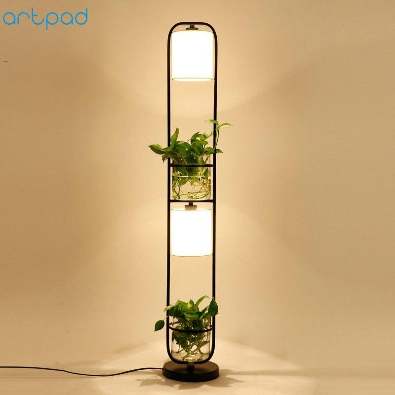 Bozz'art Moderne Chinois Décoration Plante Fleur Lampadaire Tissu Abat-Jour En Verre Étude Stand Floor Light AC110V-220V