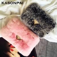 KASONPAI Real Top Rex Rabbit Hair Fur Plush Bling Flip Diamond Leather Case For iphone 6 Case For iphone 6S 7 8 Plus Wallet Case