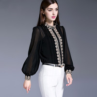 Ladies Office Shirts Brand Women Spring Clothes New 2017 Long Sleeve Pure Silk Chiffon Blouses Vintage
