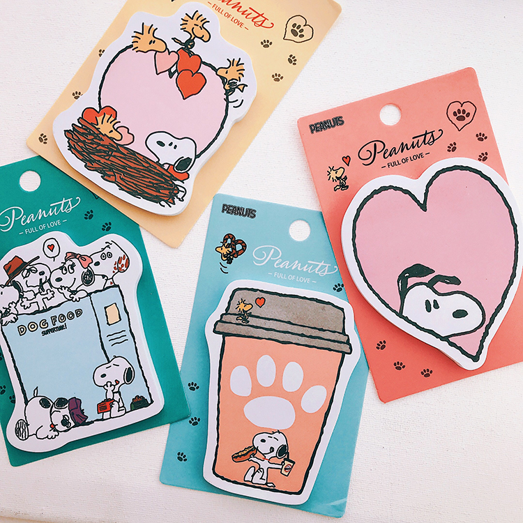 Korea Kawaii Cartoon Rogue Dog Snoopyys Memo Pad Sticky Notes Memo Notebook Stationery Pasted Paper Stickers Schpool Supplies