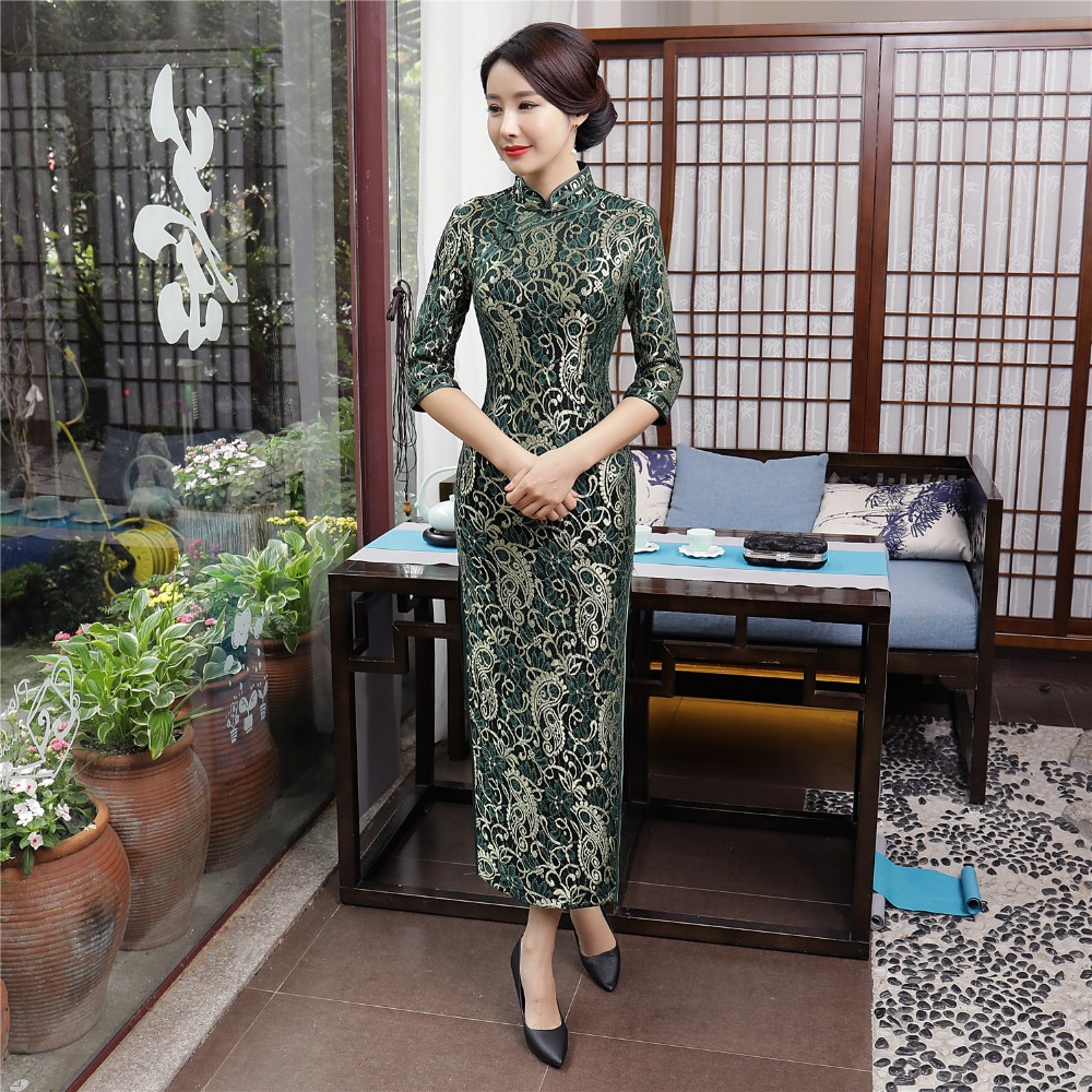 Shanghai story chinese traditional dress long cheongsam velvet qipao lace  oriental dress sleeve velvet jpg 1000x1000 853fd7a712ad