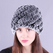Womens Winter With Real Fur Female Cap Pineapple Hat Hold Ears Mink For Women WARM Knitted Caps