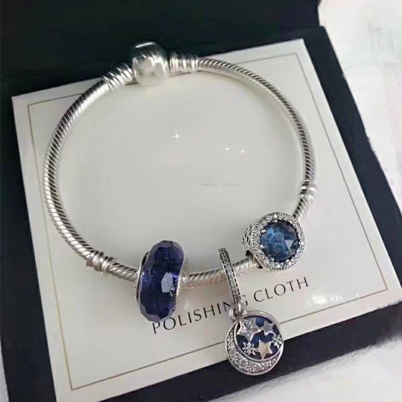 Correspond à bijoux charme bricolage Fem bijoux cadeau en argent Sterling 925 océan coeur opale bleu étoile mois fini Bracelet