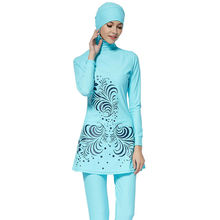 Zon Moslim Badpak Blauw Volledige Cover Modest Islamitische Hijab Swimwears Badpakken Burkinis voor Moslim Vrouwen S-4XL