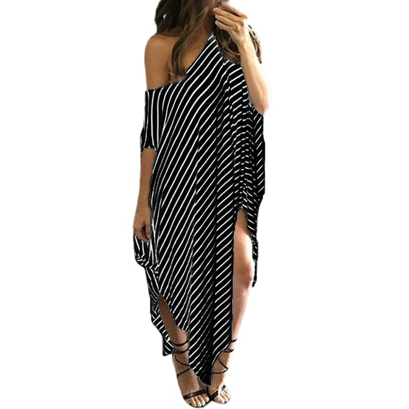 Tonichella Beach Dress Women Summer Black Stripes Dress Irregular Hem Plus Size Beachwear Sexy Split Loose Long Dresses SCL070