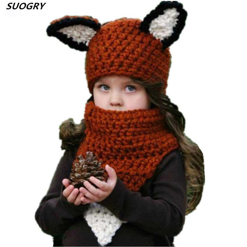 Children Scarf Hat Sets Handmade Wool Neck Hood Squirrel Mouse Orange Squat Cap Hats Squirrel Shape Skeletal Cap Christmas Gift