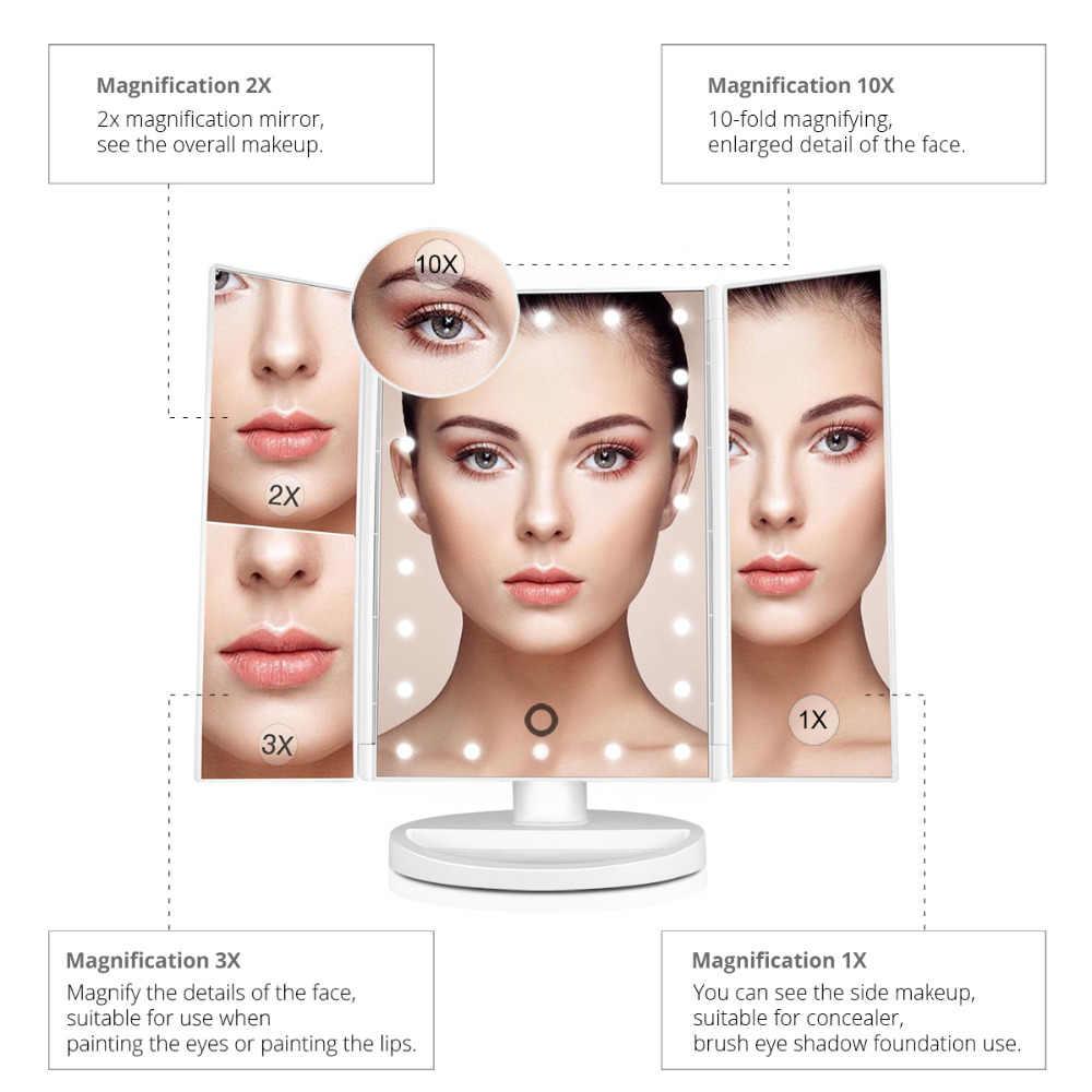 Затемнения зеркало свет 22 светодиодов профессиональное косметическое зеркало лампа 1X/2X/3X/10X увеличительное Регулируемая столешница вращающийся на 180