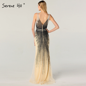 Image 3 - 2020 luxe sans manches col en v Sexy robes de soirée Dubai Design perles robe formelle sereine colline LA60743