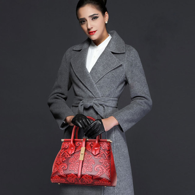 New brown blue red green female women's frame shoulder bags handbags for lady chinese national Embossed floral style