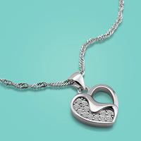 Women S 925 Sterling Silver Pendant Necklaces Lady Popular Heart Pendant 46cm Chain Solid Silver Charm
