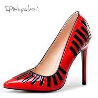 Różowy Palms jesień kobiety wysokie obcasy buty czerwone klasyczne wskazał toe wąskim paśmie dekoracji wesele eleganckie pantofle