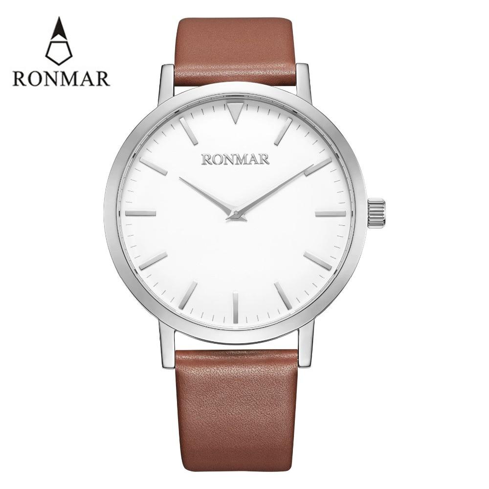 Reloj de lujo de los hombres 2018 de cuarzo de moda relojes de correa de cuero genuino relojes de oro RONMAR marca reloj resistente al agua - 3