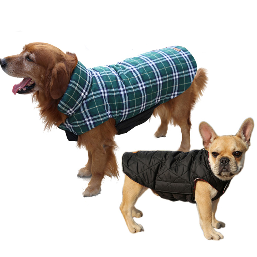 Reversible Waterproof Medium Large Big Dog Clothes Winter Coat Jacket Warm Plaid Vest Labrador French Bulldog Boxer Dog Apparel