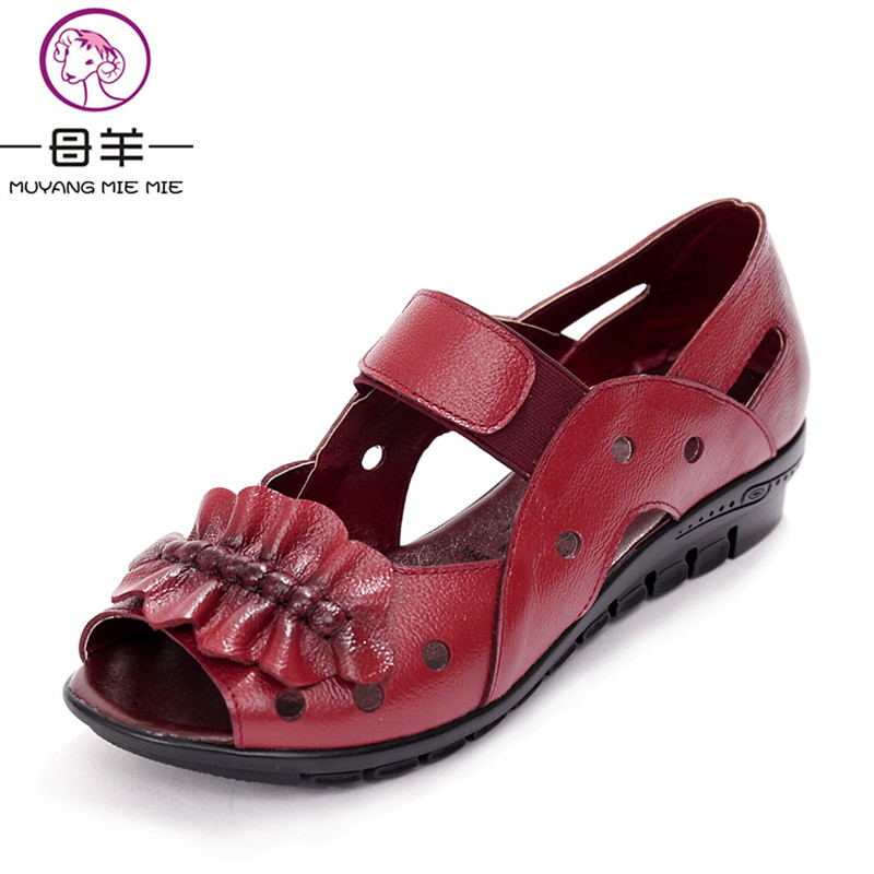 Flat Sandals Women Shoes MIE Genuine-Leather Summer Woman Open-Toe Casual MUYANG