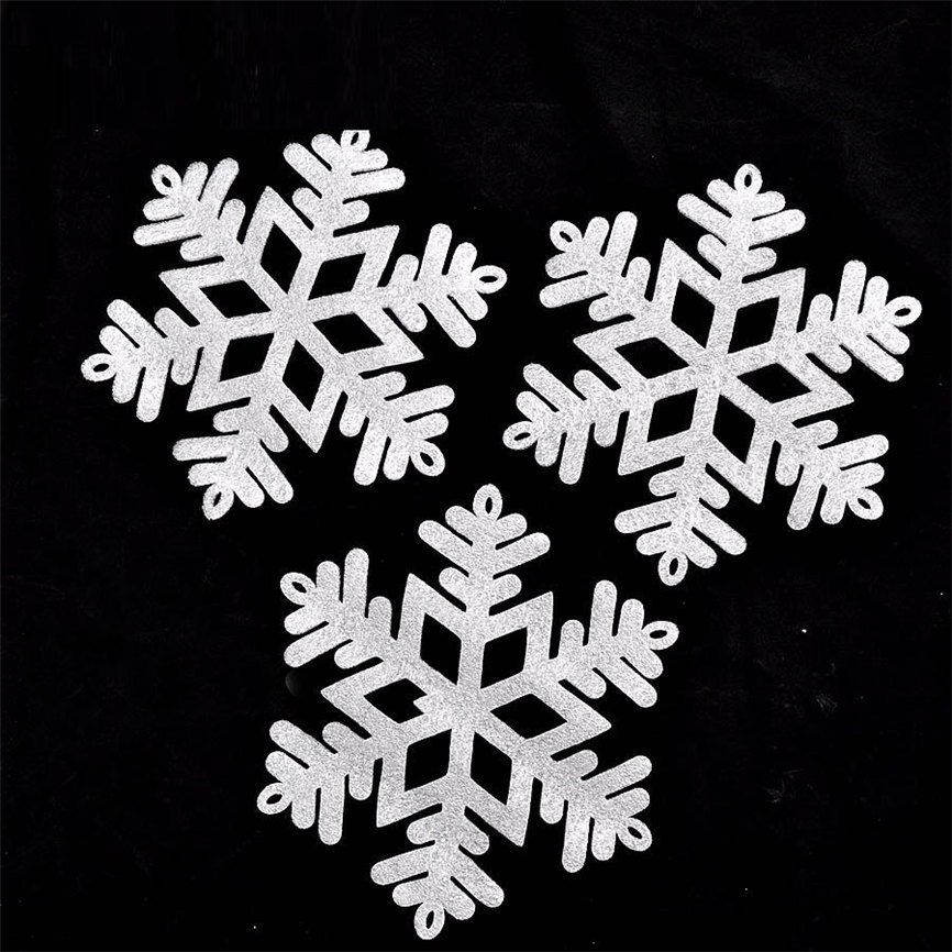 Wallpaper Sticker 3Pc Merry Christmas Year Classic Snowflake Ornament Wall Sticker Home Decor 15cm Wallpapers For Living Room B#