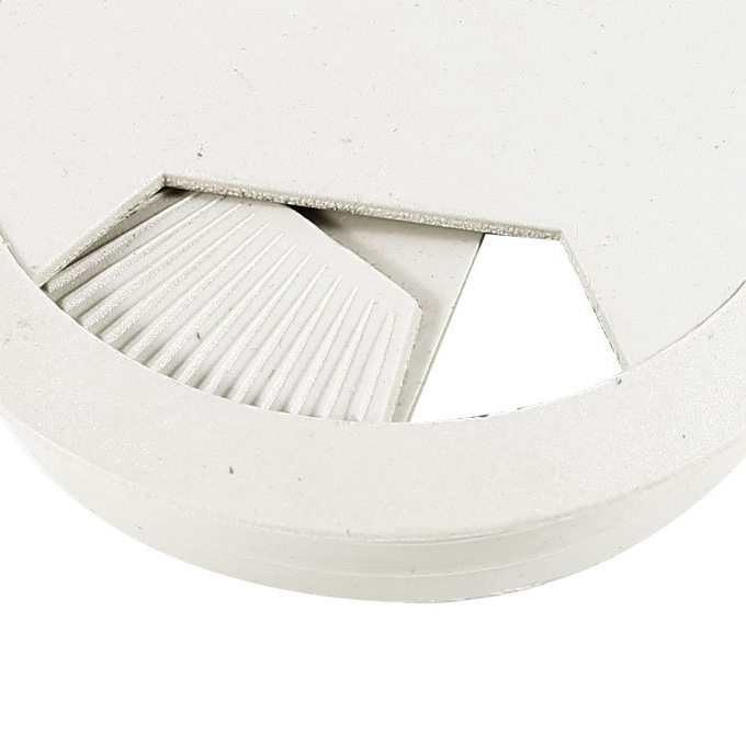 CAA-Hot Computer Table 6cm Dia Plastic Light Gray Grommet Cable Hole Cover