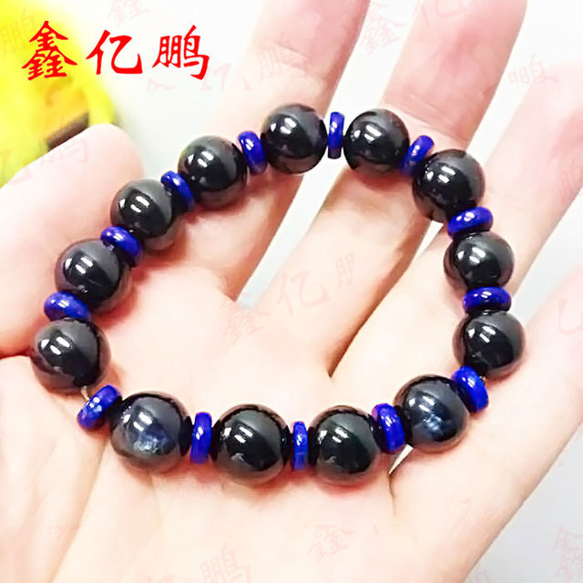 Natural sapphire hand round bead string bracelet with natural male more than 300 carats lapis spacers