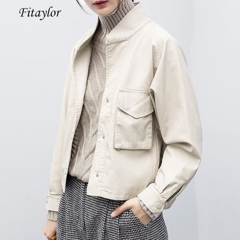 Fitaylor Women Faux Leather Jacket Loose Fit Batwing Sleeve Soft PU Biker Coat Punk Outwear Ladies Black Beige Motor Jackets