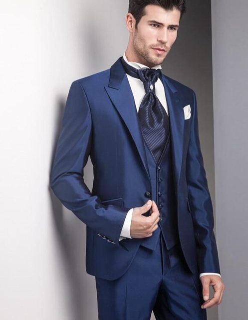 Online Shop 2018 Top Selling Navy blue Tuxedo Suits wedding suits ...
