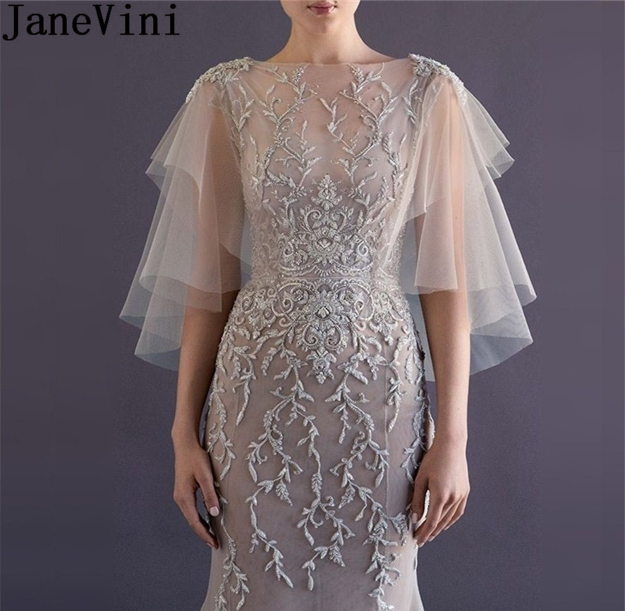 JaneVini Elegant Wedding Bridal Lace Bolero Wraps Cape Dress Two Layers Soft Tulle Lace Sequined Women Bolero Chaquetas De Mujer