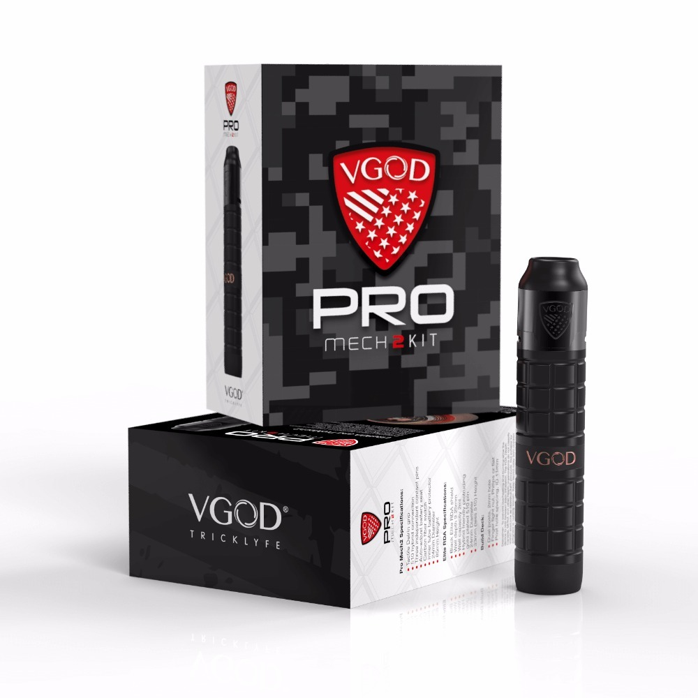 Original VGOD Pro Mech 2 Kit Series Mod with ELITE RDA Tank Atomizer 2ml capacity 24mm Diameter Vape mech kit VS Vgod Pro Mod new vgod pro mech 2 kit vgod pro mech 2 mod vape with 2ml vgold elite rdta powered 18650 battery electronic cigarette vape kit