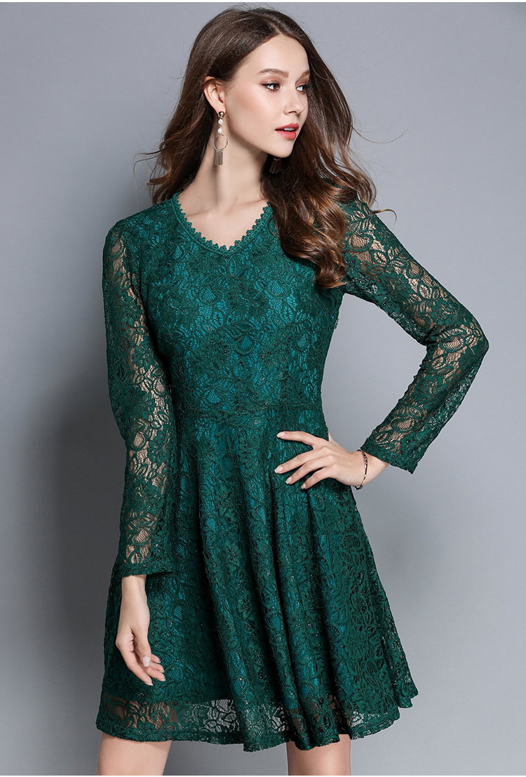 New Autumn Women\'s Lace Elegant Dresses Casual Tunic Red Green ...