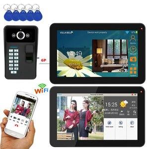 SmartYIBA 9 дюймов, 2 монитора, проводной/беспроводной, Wi-Fi, отпечаток пальца, RFID, пароль, видео, домофон, домофон