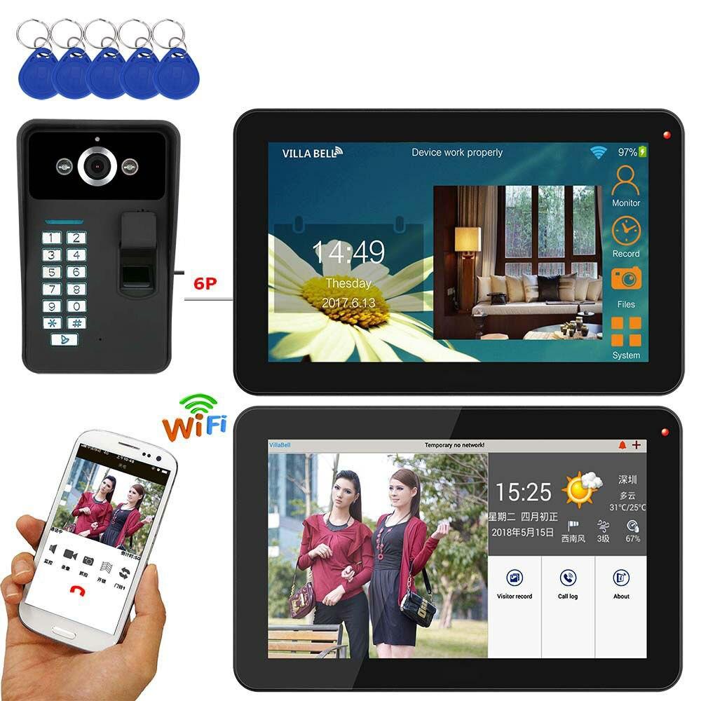 SmartYIBA 9 polegada 2 Monitores Com Fio/Sem Fio Wifi Fingerprint Senha RFID Telefone Video Da Porta Campainha Intercom Sistema