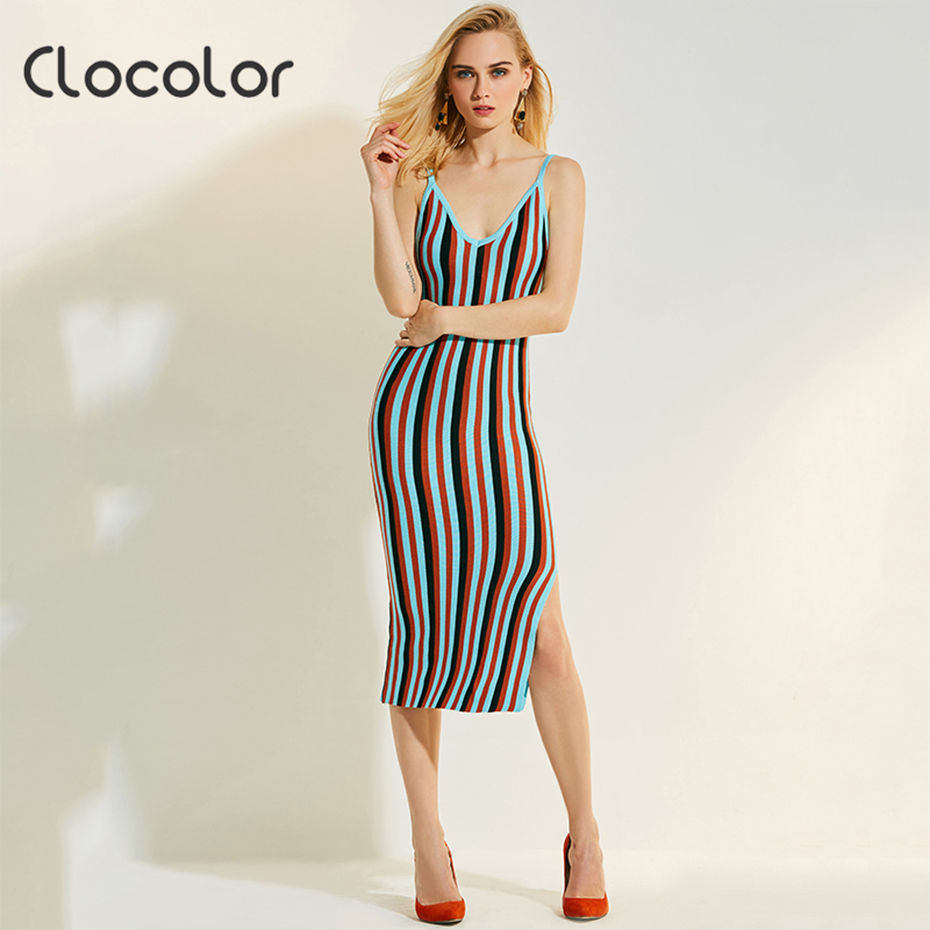Clocolor knitted strap dress sexy striped v neck side slits pullovers elegant color block bodycon backless mid calf women dress long sleeve bodycon dress with slits
