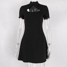 79873ecd44af6 القوطية اللباس المرأة قصيرة الأكمام الجوف خارج خمر السببية البسيطة فساتين  السيدات الصيف أزياء 2019 الأسود