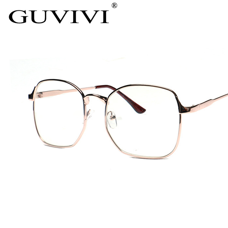 2016 guvivi men woman glasses mens optical frames clear lens eyewear square black brown silver gold glasses frame 3178