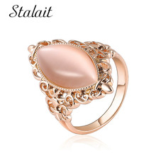 Luxury Horse Eye Shape Opal Ring Charm Carved Flower Rose Gold Color Alloy Ring For Women Wedding Gift Bohemian Jewelry stylish cute shape disc horse ring shape bowknot embellished sweater chain for women