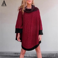 Vintage Contrast Color Patchwork Turtleneck Sweater Women Knitting Poncho Irregular Long Pullover Streetwear Winter Loose Jumper