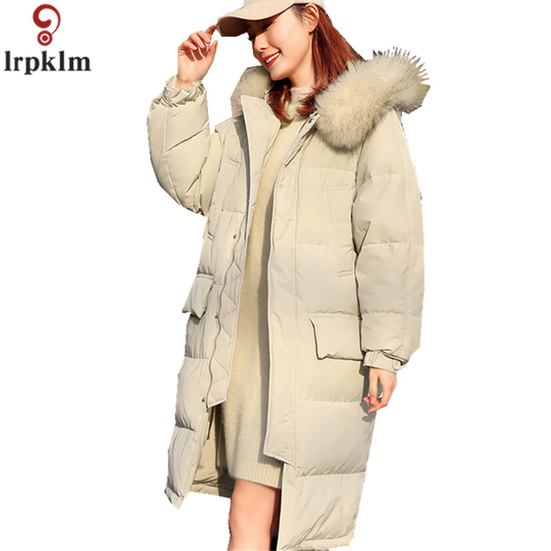Women's Winter   Down     Coat   White Duck   Down   Long Jackets For Female Thickened Hooded Big Feather Collar Over   Coats   2018 New LZ927