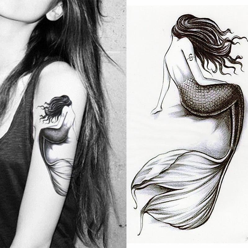 1 шт./компл., маленькая Временная водостойкая татуировка с полным цветком на руку, наклейки в виде русалки для женщин, мужской боди-арт
