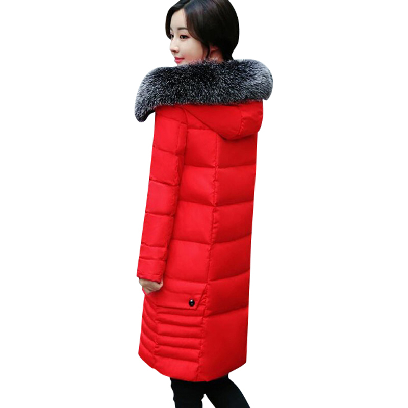 2017 European  American Fashion Winter Women's New Hot Style Cotton Jacket Long Feather Cotton Clothes And a Heavy Cotton Coat 2014 new european and american style high collar coat fur clothing brand men s fashion casual plaid cotton jacket