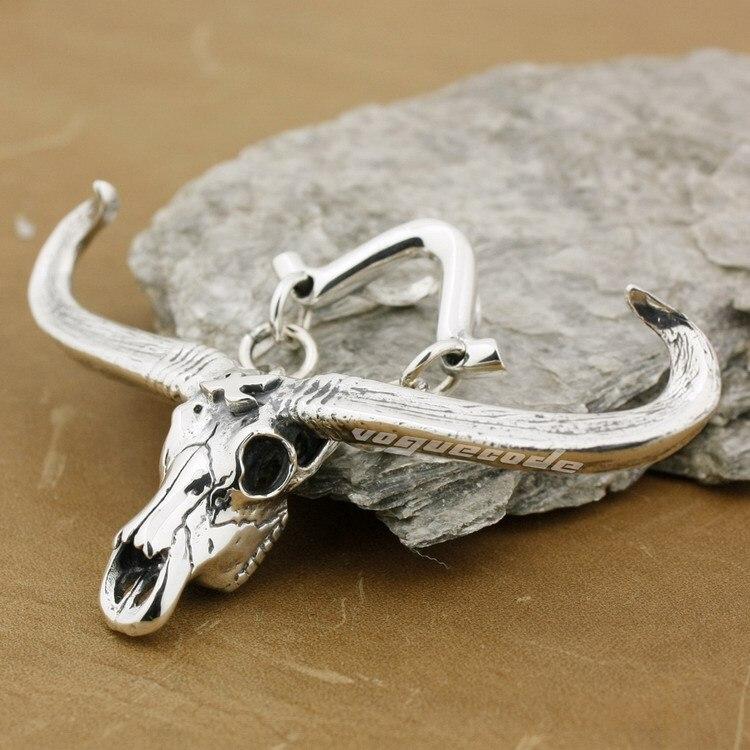 Top Quality 925 Sterling Silver Charm Big Buffalo Skull Bull Horn Pendant 8P015B_#24 цена