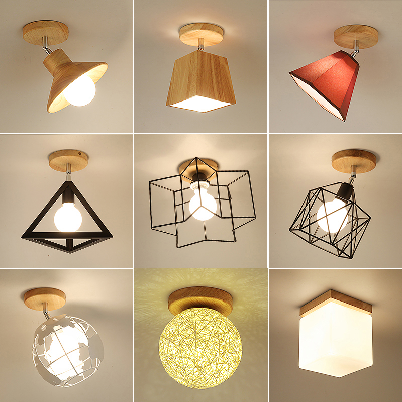 E27 Iron 5W Iron/Wood Ceiling Lamp Shade Pendant Light Covers And Shades Triangle Metal Ceiling Lampshades