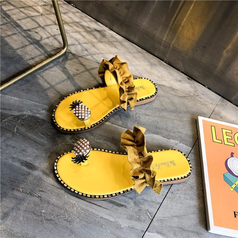 Women Pineapple Outdoor Flat Beach Slippers Open Toe Flip Flops Sandals for Women in Slippers from Shoes