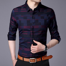Brand Clothes Men's Plaid Shirt 2019 Spring New Fashion Casual Cotton Slim Fit Long Sleeve Shirt Male Red Grid Blue Grid