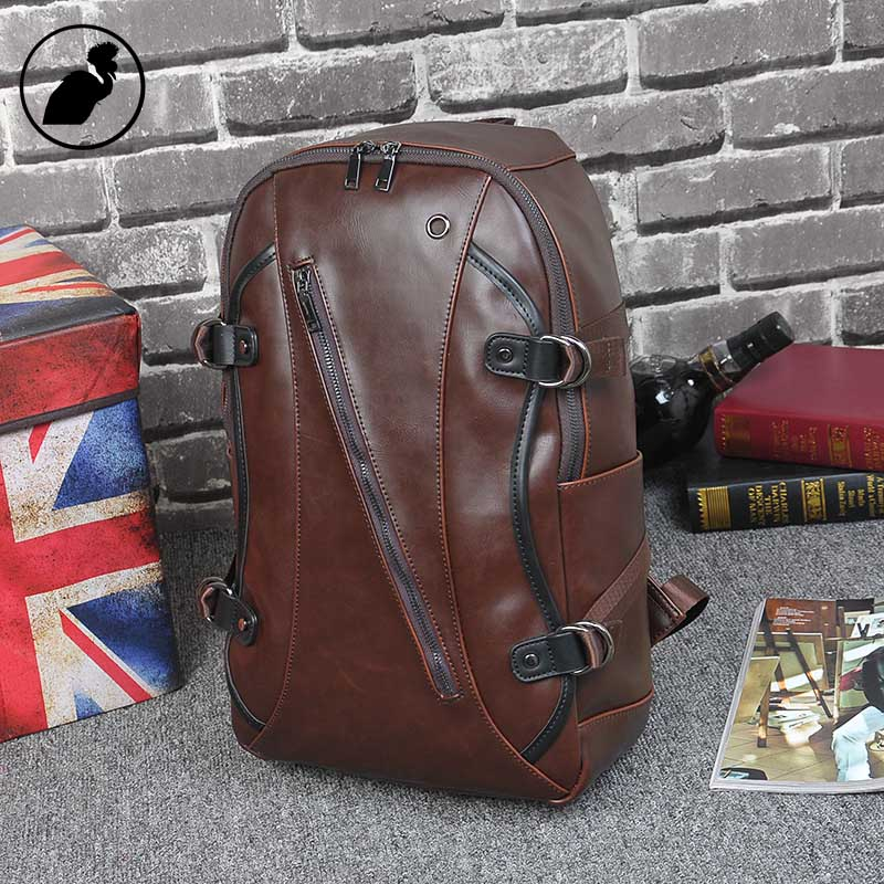 ETONWEAG Famous Brands Cow Leather Backpack For Teens Brown Vintage School Bags For Teenagers Zipper Punk Boys Travel Laptop Bag male bag vintage cow leather school bags for teenagers travel laptop bag casual shoulder bags men backpacksreal leather backpack