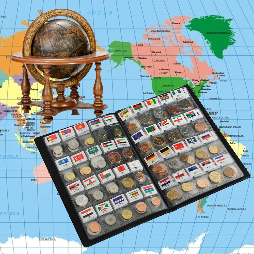 World Genuine Coin Collection Album from 120 Country China Asia UK Europe AU coin holder book / album with 120 world coins 120 pockets coins album collection book mini penny coin storage album book collecting coin holders for collector gifts supplies