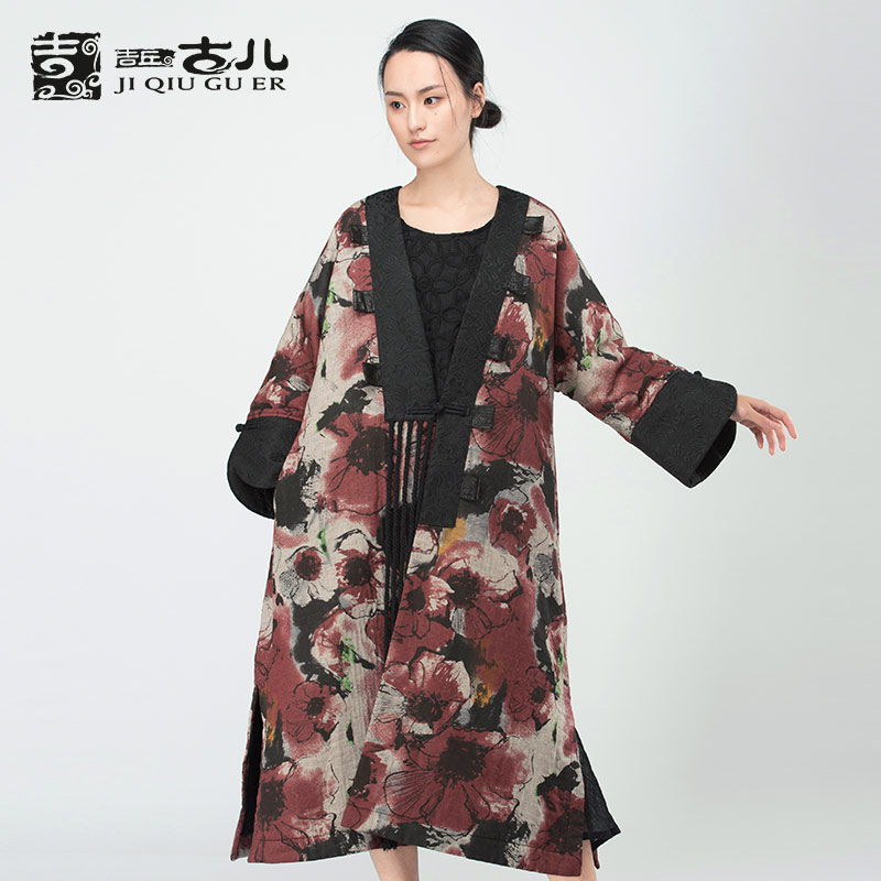 Jiqiuguer Original Design Women Vintage Printed Floral Jacket Single Button Tassel V-neck Lady Outwear Winter Coat G164Y006