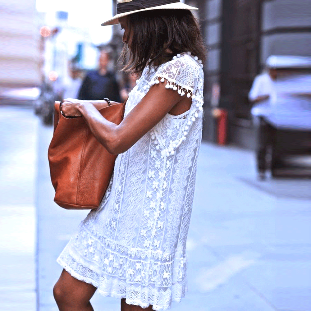 White Mini Lace Beach Dress 3