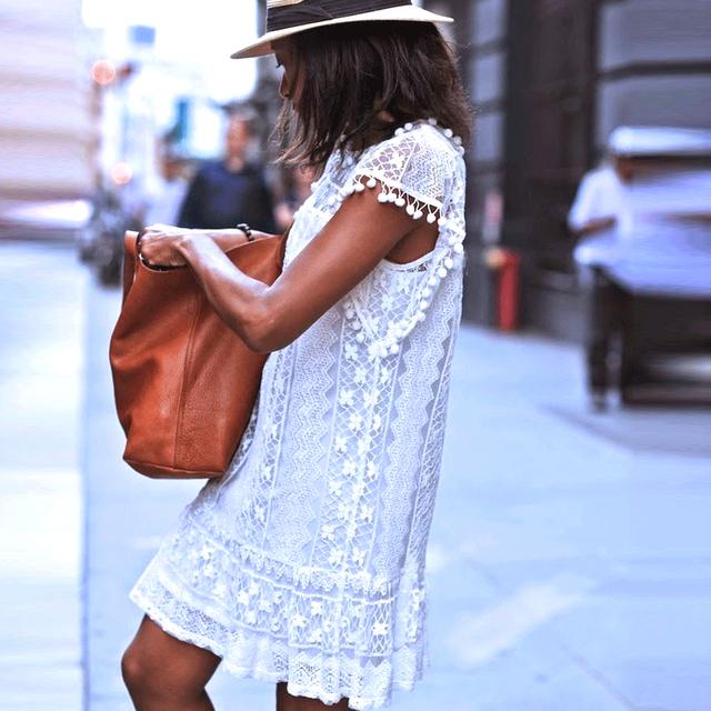 Hot Summer beach Dress Sexy Women Casual Sleeveless Beach Short Dress Tassel Solid White Mini Lace Dress Plus Size